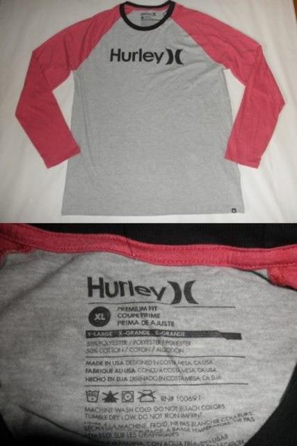 USA製 サーフ系【Hurley】ソフト素材 ラグランロンT US XL 灰赤 < ブランドの