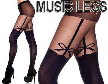 A177)MUSICLEGSリボンガーターサイハイ風ストッキング黒ブラックパーティーダンサータイツ