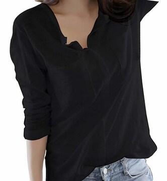 Vネック カットソー スキッパーシャツ (ブラック、Sサイズ)