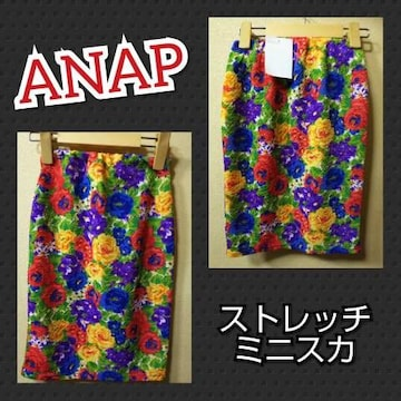 ANAP★新品★ブークレーストレッチミニスカ/オレンジ系