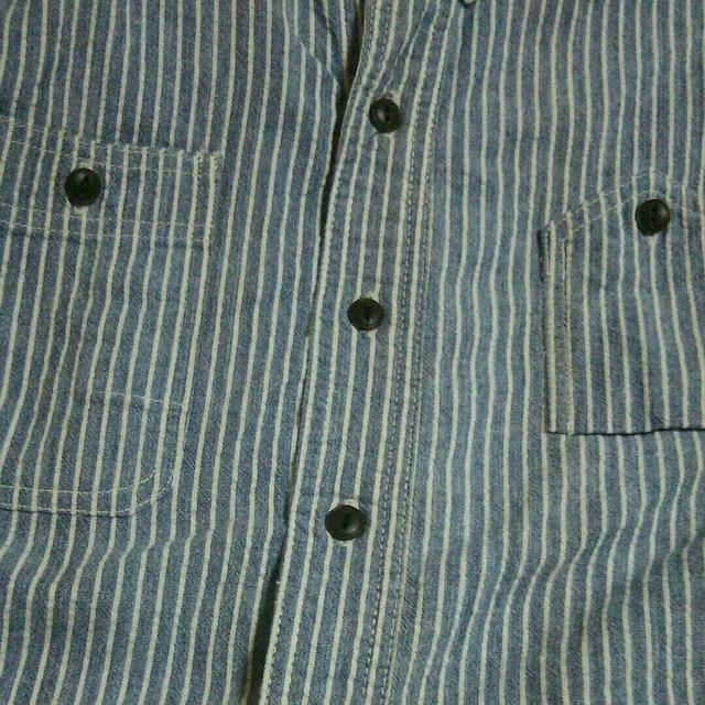 BEAR FOOTストライプ半袖シャツSサイズベアフットアメカジ日本製古着屋中古ワーク < 男性ファッションの