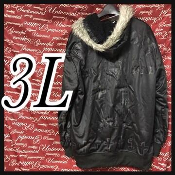 3L・ファーツキ.マリアプリント裏ボアパーカー新品黒/MCfu-101s