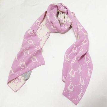 Dior クリスチャンディオール トロッター ウール マフラー ピンク