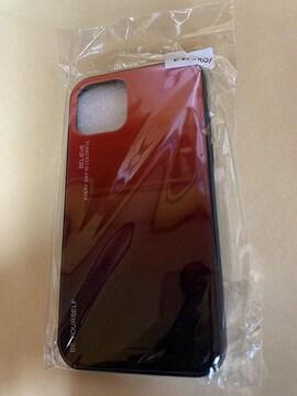 iphone11 pro グラディエント 背面ガラス ケース カバー レッド
