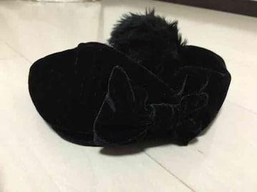 52cm/キャスケット.ベレー帽/でかボンボン/リボン/黒