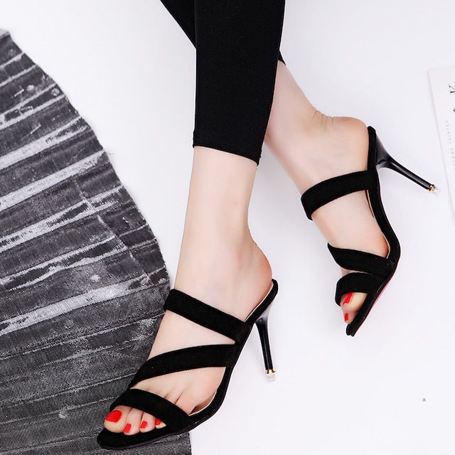TK93即決 新品 ミュール サンダル 黒 24 エスペランサ ダイアナ プールサイド 好きに < 女性ファッションの