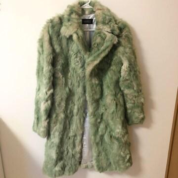 ギャルスタイル緑グリーン ラビットファーロングコート