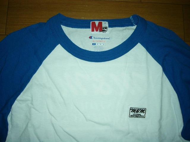 M&Mエムアンドエム7分丈ロンTシャツM白青チャンピオンChampion < 男性ファッションの