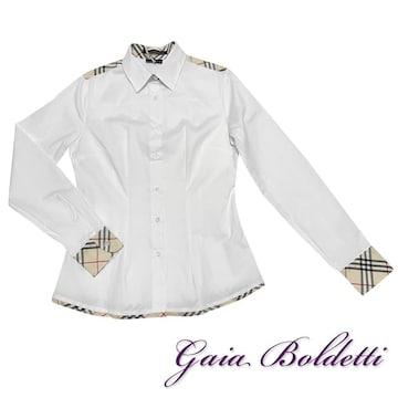 新品Gaia Boldettiイタリア製チェック柄シャツブラウス白#40#4