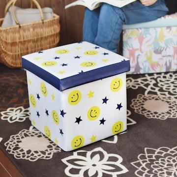 収納BOXスツール スマイル ニコチャン 小物入れ おもちゃ箱
