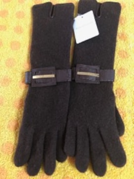 ピンキー&ダイアン 二重ニットロング手袋ブラウンS〜M