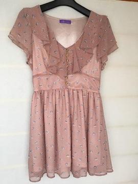 花柄 半袖 ワンピース M ピンク 水玉 フワヒラ N2m