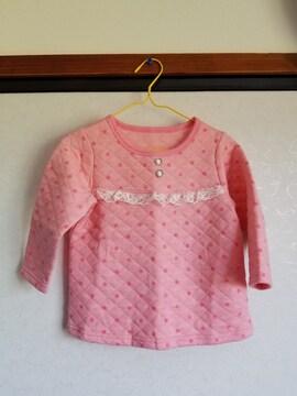 ピンク水玉に胸レース、ピンクズボンの長袖パジャマ100