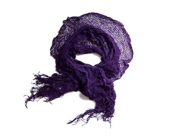 新品 マフラー ニット フリンジ レディース シャーリング 紫