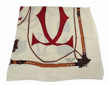 カルティエ マスト 2C タッセル ベルト柄スカーフ ベージュ系マルチカラー【送料無料】