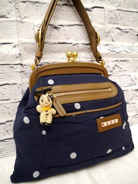 レア美品◆MARNI マルニ がま口デザイン ドット柄 ハンドバッグ