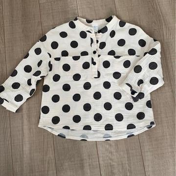 韓国子供服ドット5分袖シャツ9