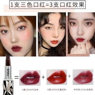 新品novo☆3in1レッド系リップ口紅/1本3役