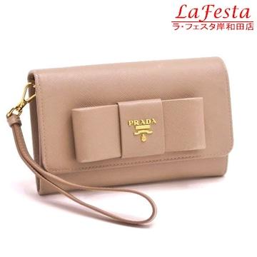 本物◆プラダ【リボン付き】2つ折り中財布(ストラップ付/紙袋