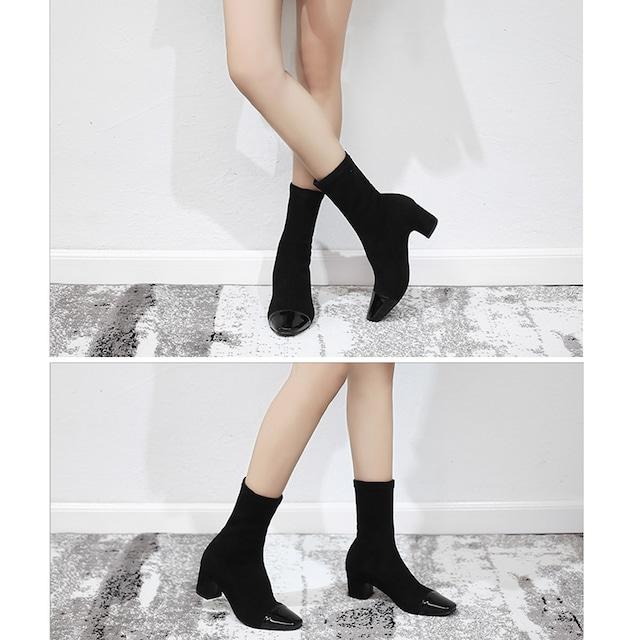 ブーツ ショートブーツ レディース ソックスブーツ 太ヒール < 女性ファッションの