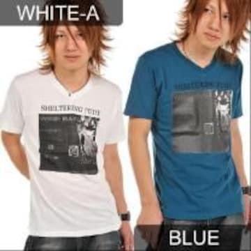 カジュアルBARフォトプリント♪Tシャツブルー
