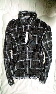 新品ロエン 皺加工スカルチェックレザーシャツジャケット46