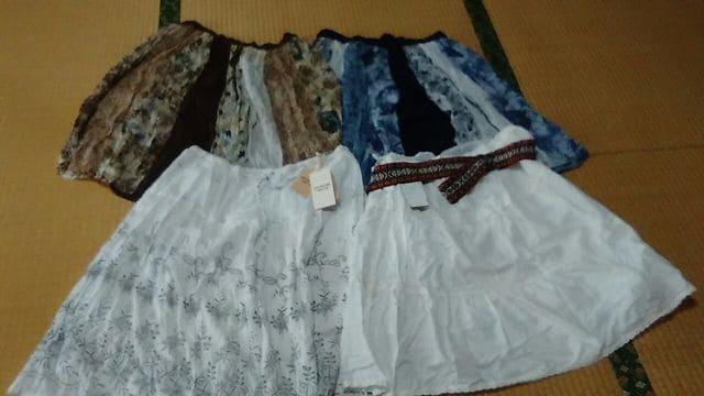 値下げ★大きいサイズ★薄手インド綿スカート4枚セット★LL 〜3L★新品あり  < 女性ファッションの