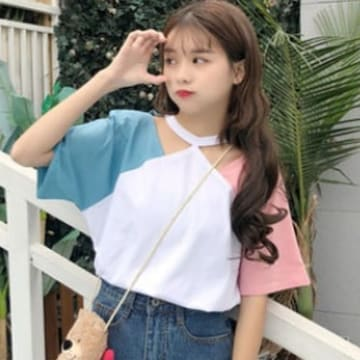 L,LLXL/新品☆バイカラーチョーカーネックTシャツ36