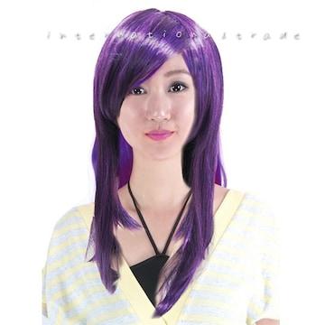 ウィッグ コスプレ 紫 パープル ロング7034