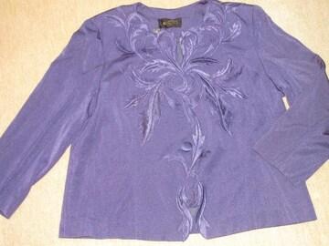 刺繍模様*長袖ジャケット(ネイビーブルー)レディース