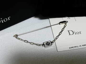 正規未 Dior Homme ディオールオム CDR ロゴチェーンブローチ 銀 付属有 兼用