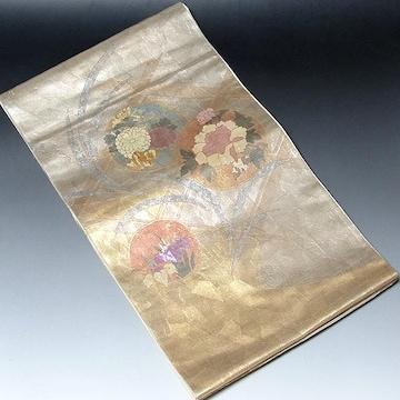 【留袖や附下げにピッタリの袋帯】正絹 引箔 薄いゴールド