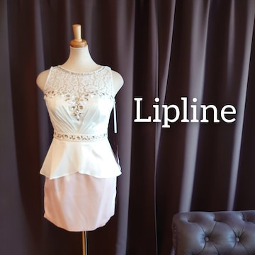 J20185 新品 Lipline ミニドレス S ホワイト×ピンク サテン