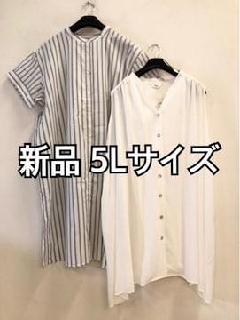 新品☆5L涼しげチュニック&ワンピースのセット☆d514