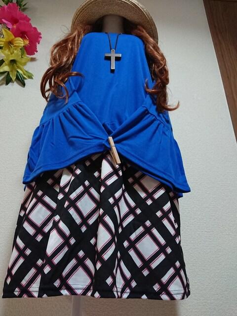 ★新品タグ4L★重ね風チュニ(2枚仕立て)  < 女性ファッションの