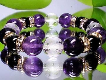 天然石10ミリ素彫四神獣水晶・天然アメジスト・黒瑪瑙数珠