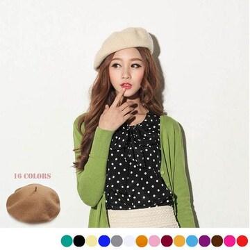 ☆コーデにオシャレなアクセント♪ベレー帽 ニット/全16色