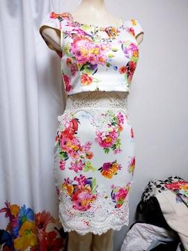 ウエスト レース 花柄ナイトドレス
