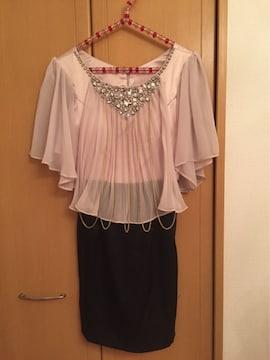 新品タグありビジュー・ゴールドチェーン付きドレス