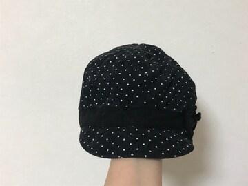 未使用☆黒×白ドット女児キャスケット☆52cm-54cm