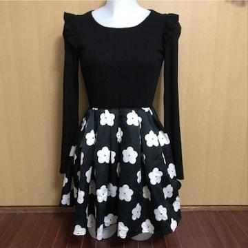 【値下げ不可】新品!!one spo 花柄フレアスカート ドッキン