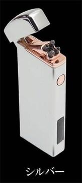�溺 クロスするプラズマで着火 USB充電式 プラズマライター/シルバー