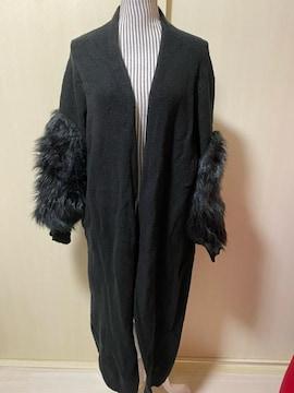 袖ファー付き??ロングニットコート??ブラック