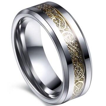 超お買得1490円★ドラゴンデザインチタン指輪 ゴールド20号