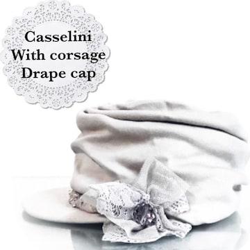 Casselini★コサージュ付ドレープキャップ
