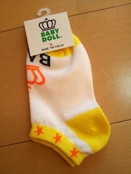 新品スニーカーソックス 靴下/白×黄16〜18�pベビドBABYDOLLベビードール