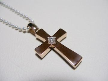 仁尾彫金『一つ星ダイヤフラットピンクゴールドクロス』90