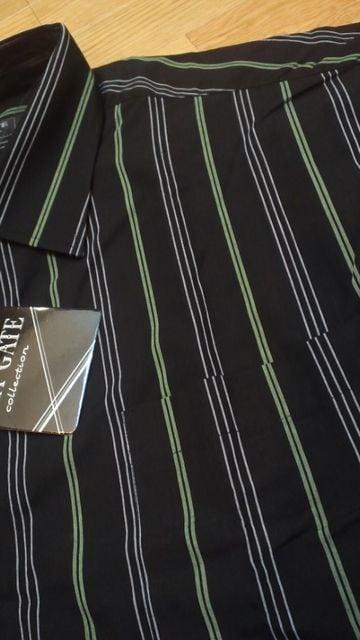 LA直輸入 LAGATEストライプ長袖シャツ黒緑ライン サイズ4XL→2XL位 南�F < 男性ファッションの