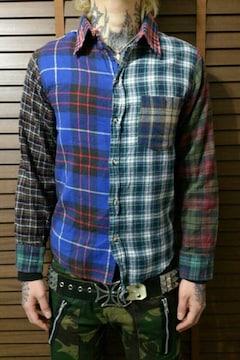 即決Fxxkクレイジー9チェックネルシャツ!ハードコアパンクロッククラストスケータースタイル