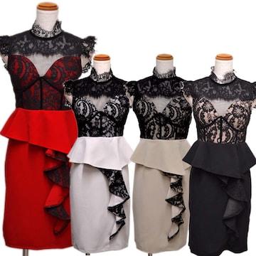 サイドフリル ミニドレス キャバ  パーティードレス チャムドレス